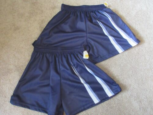 NEW lot (2) 80s DYNAMIC TEAM SPORTS Blue Youth Large Polyester YL Vintage shorts