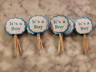 Its a Boy Gender Reveal Baby Shower Party Cupcake Toppers Cake Picks Blue 24pcs