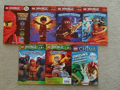 Lot of 7 LEGO Ninjago Masters of Spinjitzu, CHIMA Full Color Scholastic Books