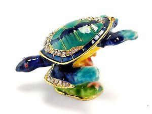 Blue Turtle Fish Jewelry Trinket Box Decorative Collectible Sea Gift 02041
