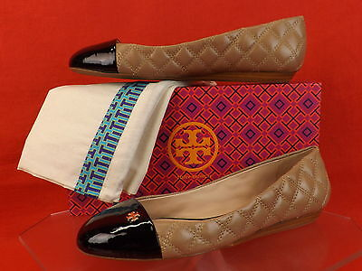 NIB TORY BURCH CLAREMONT BEIGE BLACK QUILTED LEATHER GOLD REVA FLATS 9 $235