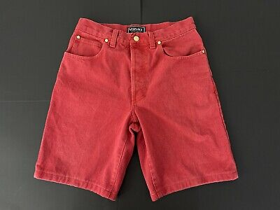 Vintage 90s GIANNI VERSACE Sexy Red Denim Shorts COLLECTIBLE! Very Rare Italy