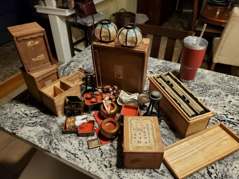 Antique Japanese Hina Doll Furniture large lot Rice Lacquer sets Stands huge LOT