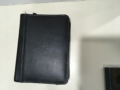 Franklin Covey 6-ring 1.25 Compact Black Leather Zipper Planner 14780.238 Euc