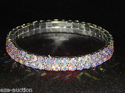 2 Row Stretch Bracelet - 2 ROW AB AURORA BOREALIS RHINESTONE CRYSTAL STRETCH BRACELET BANGLE 4345