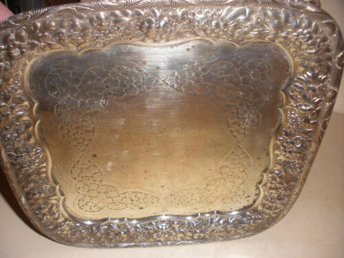 Exquisite Antique Tiffany sterling silver repousse serving tray Henry Pierrepont