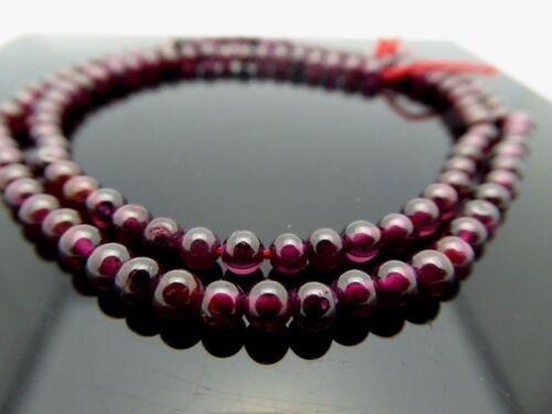 """Natural Red Garnet Smooth 3.5mm Round Genuine Gemstone Beads 14.5"""" Std. Bargain"""