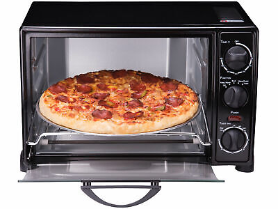 """Toaster Oven Portly 6-Slice 12"""" Pizza Capacity Stainless Steel, Broiler, Black"""