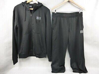 Emporio Armani EA7 Mens Black Tracksuit Size Large Nice Used Condition Authentic