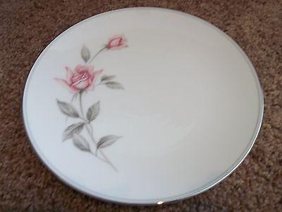 "1 Noritake Rosemarie Dinner 10 1/2"" White w/Pink Rose Gray Leaves Silver Trim"