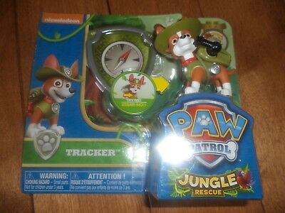 Paw Patrol Jungle Rescue TRACKER and Snap-On Badge Spin Master Nickelodeon NEW