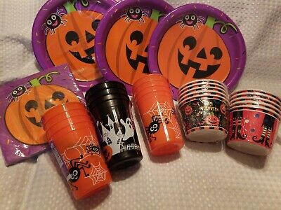 HALLOWEEN PARTY PLATES(24)~NAPKINS(18)~TREAT CUPS(10)~PLASTIC - Halloween Plates Cups Napkins