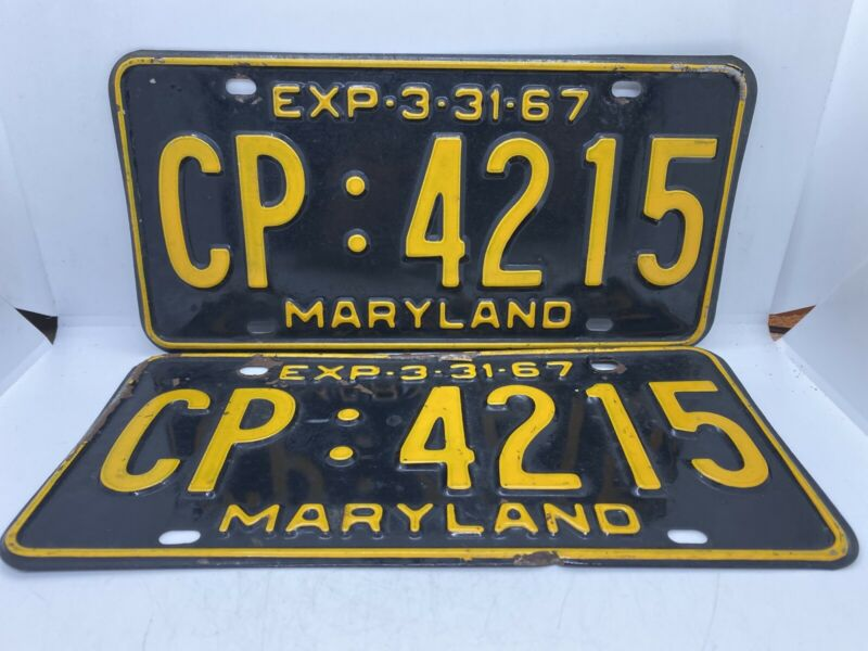 Antique Automobile Old Muscle Car Vintage 1967 Maryland license Plates CP:4215