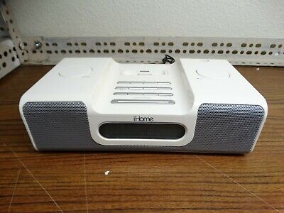iHome iH6 Alarm Clock AM/FM Radio iPod Docking Station White No Remote
