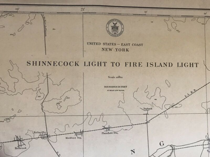 1919 U.S. COAST & GEODETIC SOCIETY SHINNECOCK LIGHT TO FIRE ISLE NY NAUTICAL MAP