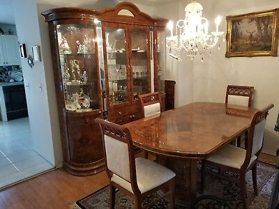 ALF Italia Solid Wood 7 Piece Italian  Dining Room Set, 4 Chairs, Table, Cabinet Dining Room Square Cabinet