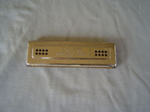 """VINTAGE """"ECHO"""" DOUBLE SIDED TREMELO HARMONICA MODEL 56/96 """"C/G"""" BY M. HOHNER"""