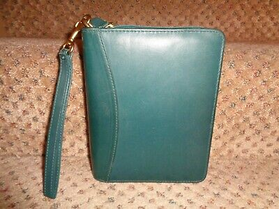 Franklin Quest Covey Green Nappa Leather Compact Zipper Close Planner Strap
