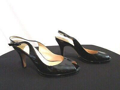 Black Patent Slingback High Heels - Cole Haan Black Patent Leather Slingback Peep Toe Gold Accent High Heels Sz 8 B