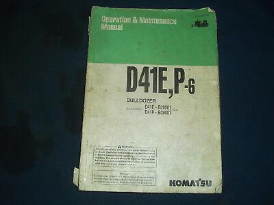 Komatsu D41e-6 D41p-6 Tractor Dozer Operation Maintenance Book Manual