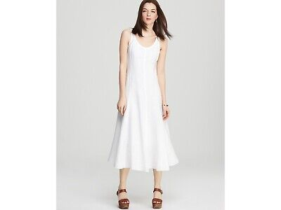 NWT EILEEN FISHER WHITE SPRING LINEN WIDE SCOOP NECK A LINE KNEE L DRESS SZ XS