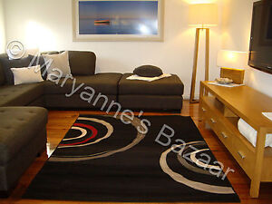 X LARGE FLOOR RUG PATTERNED MODERN DESIGNER BLACK RED 330cm X 240cm #1246W11