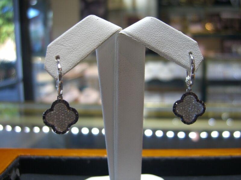 Fine Womens Drop Earrings Diamonds 14 Karat White Gold 1.50 Carat Total New Wow