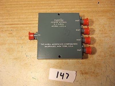 Power Divider .5-2 Ghz Sma 1in To 4 Out Sma Narda 4321-4 New