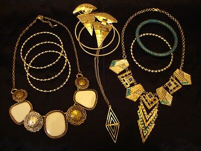 Egyptian Revival Necklaces Bracelet Earrings Art Deco Costume Jewelry LOT 10 EUC - Egyptian Costume Jewelry