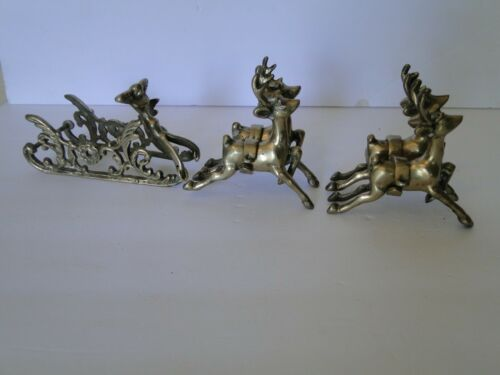 Brass Reindeer & Santa Sleigh