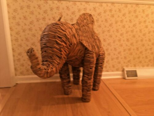 Vintage used wicker elephant