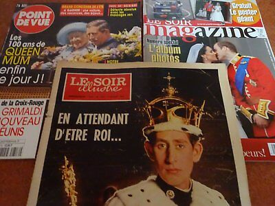 SOIR ILLUSTRé : CHARLES prince de Galles (1969) + 2 autres revues famille royale d'occasion  Anderlecht