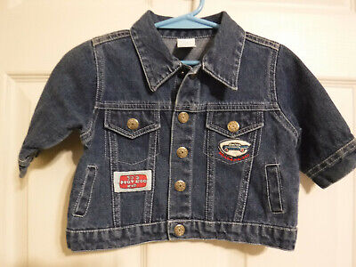 FC9 VTG Baby Infant Jean Wear 50's HOT ROD Kid Patches Blue Jean Jacket 6-9 Mo