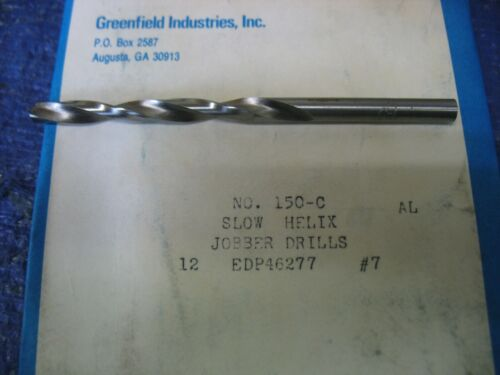 Chicago-Latrobe Jobber Drill Bit, #7, High Speed Steel, Bright, List Number 150C
