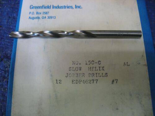 Chicago-Latrobe Jobber Drill Bit, #7, High Speed Steel, Bright, List Number 150C
