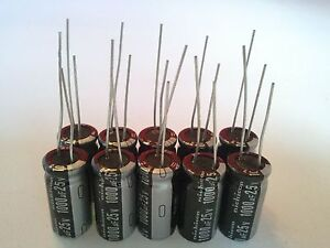 10-PCS-1000UF-1000mfd-25V-Electrolytic-Capacitor-105-degrees-USA-FREE-SHIPPING