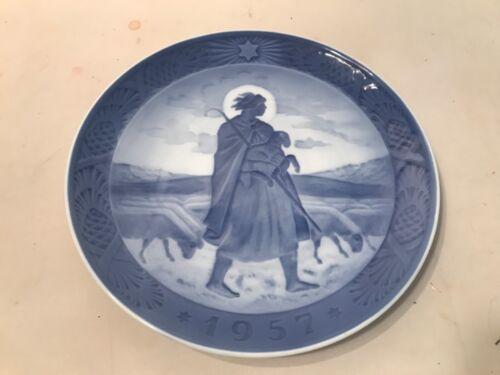 1957 ROYAL COPENHAGEN DENMARK 3-WAVE MARK HANS H HANSEN THE GOOD SHEPHERD PLATE