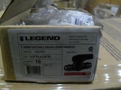 Legend 102-313 T3000 Brass Gas Ball Valve 12 Flare Lever Handle X10