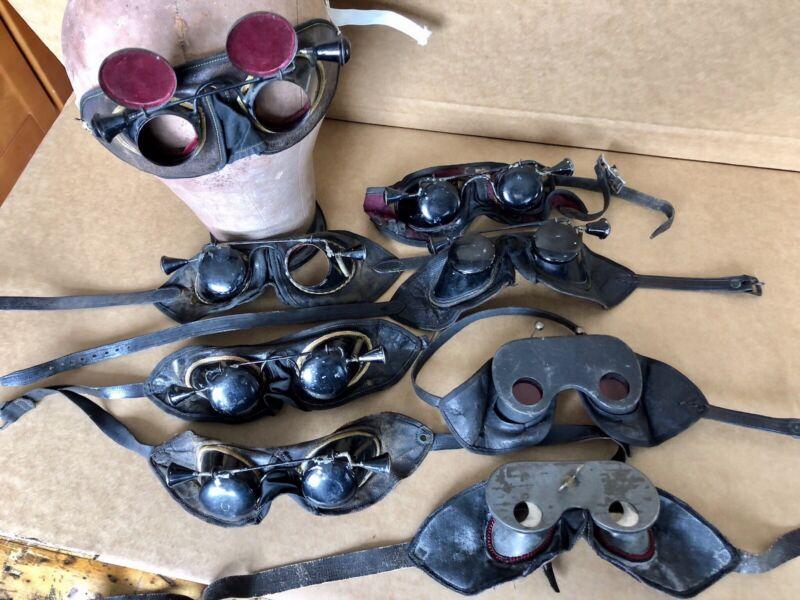Antique Hoodwinks, Blinders Odd Fellows Ceremonial Glasses Lot Of 8