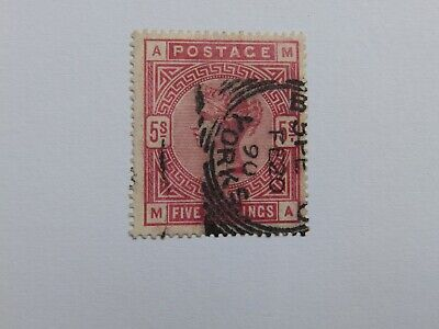 (4328N) QV 5 SHILLING CRIMSON FINE USED WITH SQUARED CIRCLE CANCEL CAT VAL £250