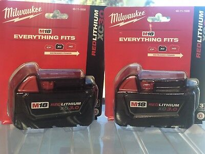 (2-PACK) Milwaukee M18 48-11-1828 18V Lithium Batteries XC 3.0AH NEW IN PACKAGE