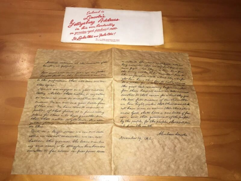 Abraham Lincoln's Gettysburg Address Authentic Reproduction On Genuine Parchment