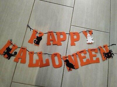 Felt Happy Halloween Banner black cat ghost crow spider bunting decor garland