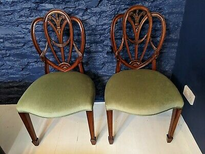 Superb Pair of Hepplewhite Style Antique Hall or dining chairs