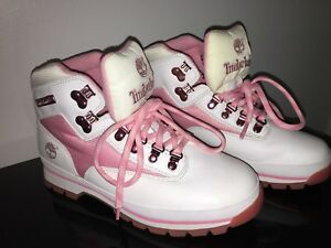 White and pink leather size 8.5 Timberland Hiker boots Women's