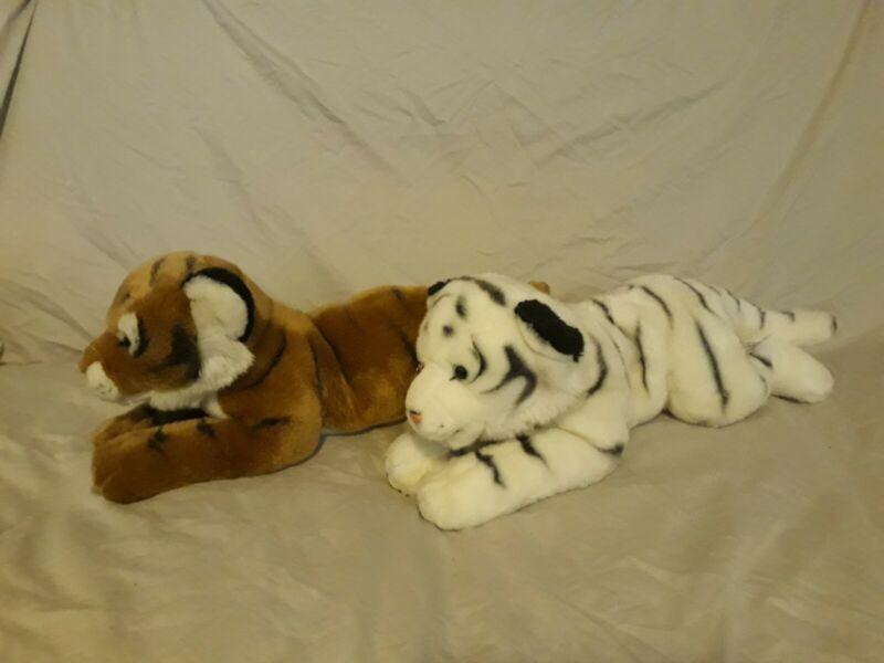 "Animal Alley Toys R Us Exclusive Realistic Bengal White Tiger Plush Set 19"""