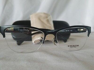 SALE COACH LOGO HC5066 EYEGLASS Rimless Frame Satin Black 53/16 Cloth & Case