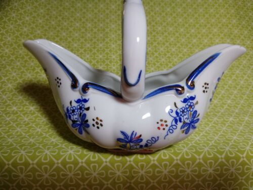 NORLEANS Japan Blue White Floral w 22K Gold Trim Porcelain Basket MANY USES