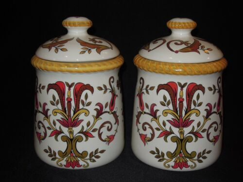 2 Pier 1 Oralia Handpainted Earthenware Canister Set w/ Lids