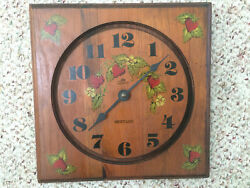 Vintage Wooden Strawberry Design wall clock by Quartz Westclox 10 inches